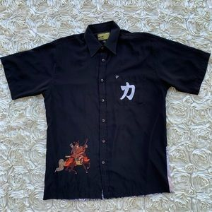 Vintage Asian Samurai Polyester Button Down